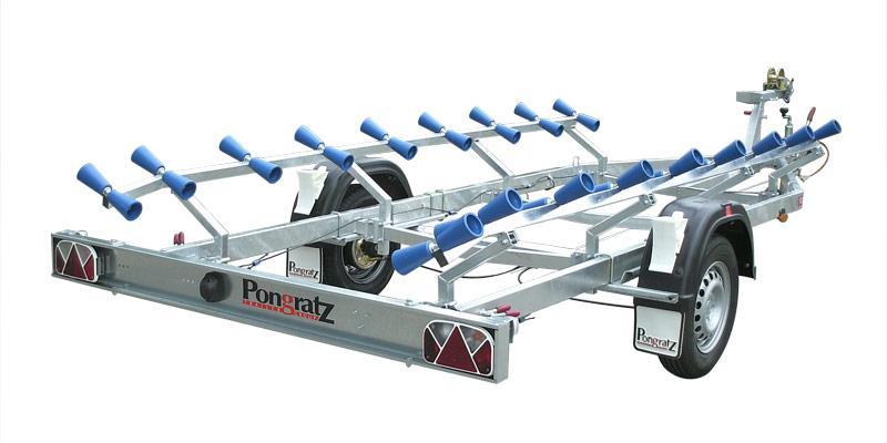 Pongratz Schlauchboottrailer mit Rollenauflagen von 400 kg bis 1000 kg gebremst und ungebremst
